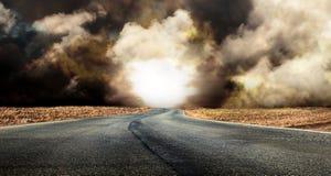 Fantastic desert road with clouds. A fantastic desert road with clouds Stock Image