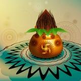 Fantastic diwali pooja kalash rangoli. Colorful design Royalty Free Stock Photo