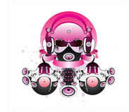 Fantastic DJ with glasses and headphones. Drawing can be used on CD and posters Stock Photo