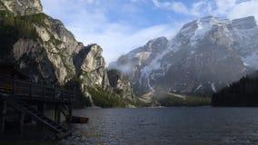 Fantastic Dolomites surrounding wooden fishing house on lake Braies, Italy. Stock photo royalty free stock image
