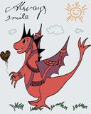 Fantastic dragon with a balloon - greeting card vector illustration