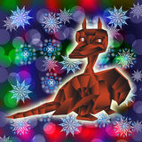 Fantastic dragon-symbol 2012 New Years. Fantastic dragon-symbol 2012 New Years on an abstract winter background Royalty Free Stock Photo