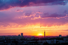 Fantastic Dramatic Sunset Sky in Industrial City Stock Image
