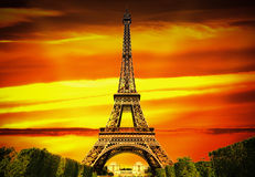 Fantastic Eiffel Tower in Paris Stock Images