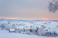 Fantastic evening winter landscape Royalty Free Stock Image