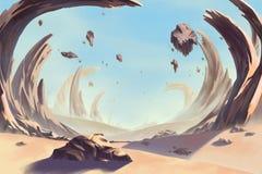 Fantastic and Exotic Allen Planet`s Environment: Storm Eye Desert. Video Game`s Digital CG Artwork, Concept Illustration, Realistic Cartoon Style Background stock illustration