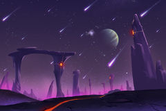 Fantastic and Exotic Allen Planets Environment: Stone Pillars Stock Image