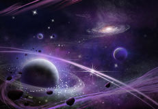 Fantastic and Exotic Star Field. Video Game`s Digital CG Artwork, Concept Illustration, Realistic Cartoon Style Background Stock Photo