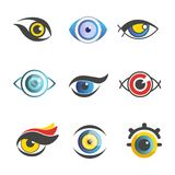 Fantastic eyes of unusual color and shape set. Fantastic eyes of unusual color and shape for imaginary male and female cartoon characters with long lashes Stock Photos