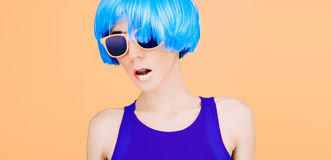 Free Fantastic Fashion Lady In Blue Wig And Glasses Stock Photography - 51861412