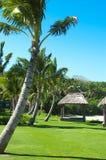 Fantastic Fiji. A beach cabana on the white sand beach at the InterContinental Natandola Bay in Fiji royalty free stock photos