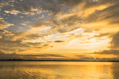 Fantastic fine sunrise sky reflex on the river. For nature background Royalty Free Stock Photos