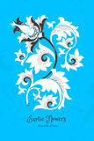 Fantastic flowers in Chinese style. Fantastic exotic flowers in Chinese style. Luxury ornament. Bright blue floral illustration. Ornate graphic art. Beautiful Stock Photos