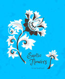 Fantastic flowers in Chinese style. Fantastic exotic flowers in Chinese style. Luxury ornament. Bright blue floral illustration. Ornate graphic art. Beautiful Royalty Free Stock Photo