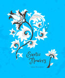 Fantastic flowers in Chinese style. Fantastic exotic flowers in Chinese style. Luxury ornament. Bright blue floral illustration. Ornate graphic art. Beautiful Stock Photo