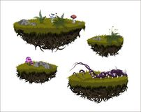 Fantastic flying islands. Isolated image of fantasy landscape. Magic rocks in sky. Fictional pieces of ground. In cartoon style. Game asset. GUI element. Fairy vector illustration
