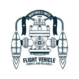 Fantastic flying machine. With jet propulsion. Vector doodle illustration. Shadows on separate layer - easy to disable royalty free illustration