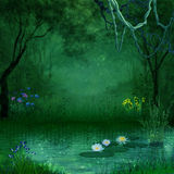Fantastic forest. A river with floating lotus and flowers runs through a fantastic forest royalty free illustration