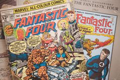 Fantastic Four comic book cover published by Marvel Comics. Fantastic Four comic books published by Marvel Comics also made into live action feature films royalty free stock photography