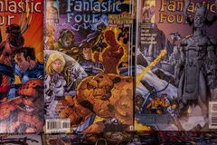Fantastic Four Marvel comics superheroes. Fantastic Four is the name of several comic book titles featuring the team Fantastic Four and published by Marvel Royalty Free Stock Images
