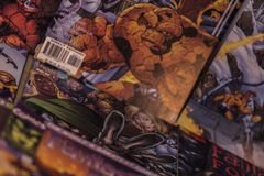 Fantastic Four Marvel comics superheroes. Fantastic Four is the name of several comic book titles featuring the team Fantastic Four and published by Marvel Royalty Free Stock Photos