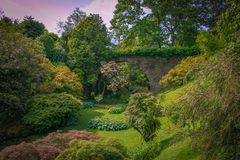 Fantastic Garden With Old Arch In Pallanza, Piedmont Stock Images
