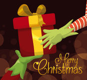 Fantastic Gift Hand over from Santa's Helper to You, Vector Illustration Stock Photography