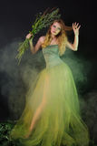 Fantastic girl in a long green dress in a fog Royalty Free Stock Image