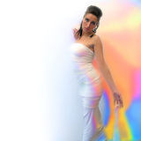 Fantastic Girl in Silk. Fantastic Woman in Silk and with colours aura royalty free stock photography