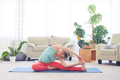 Fantastic girl stretching in revolved head-to-knee pose Stock Photography