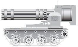 Fantastic gun on crawler - illustration vector Stock Images