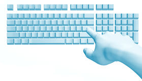 Fantastic hand over the computer keyboard Royalty Free Stock Image