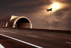 Fantastic desert road with clouds. A fantastic highway with clouds Royalty Free Stock Photography