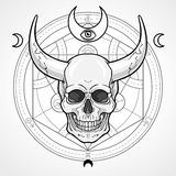 Fantastic horned human skull. Royalty Free Stock Photo