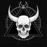 Fantastic horned human skull. Demon, shaman, fairy tale character. Stock Photo