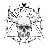 Fantastic horned human skull. Royalty Free Stock Image