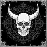 Fantastic horned human skull. Esoteric image of the demon, shaman, mythical character. Stock Photography