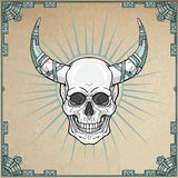 Fantastic horned human skull in iron armor. Esoteric image of the demon, shaman, mythical character. Boho design. Background - imitation of old paper, a frame Royalty Free Stock Image