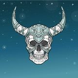 Fantastic horned human skull in iron armor. Esoteric image of the demon, shaman, mythical character. Boho design. Background - the star sky. Vector Stock Photography