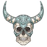 Fantastic horned human skull in iron armor. Spirit of the soldier. Boho design. The isolated drawing on a white background. Vector illustration. Print, posters Stock Photography