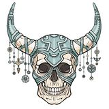 Fantastic horned human skull in iron armor. Spirit of the soldier. Ethnic jewelry. Boho design. The isolated drawing on a white background. Vector illustration Royalty Free Stock Images