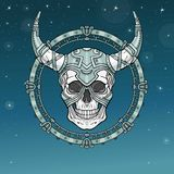 Fantastic horned human skull in iron armor. Spirit of the soldier. Metal circle. Boho design. Background - the star sky. Vector illustration. Print, posters, t Royalty Free Stock Image