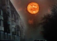 Fantastic huge moon over city apartment building stock illustration