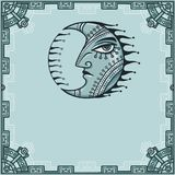 Fantastic image of iron moon. Metal amulet. A background - a frame from iron elements. Royalty Free Stock Photo