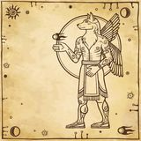 Fantastic image of a winged dog, mythological character, pagan god body of the person. Background - imitation of old paper, space symbols. The place for the Stock Photo