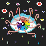 The fantastic, iridescent eye eaten by worms Royalty Free Stock Image