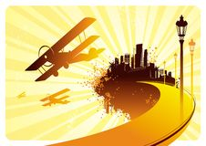 Fantastic island. Biplanes and road to fantastic island, vector illustration Stock Photos
