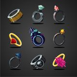 Magic rings collection. Game design concept set, cartoon style. vector illustration