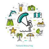 Fantastic Kitesurfing - round line concept Royalty Free Stock Photos