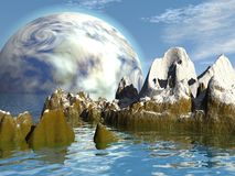 Fantastic landscape. Abstract landscape with big planet in the sky Stock Image